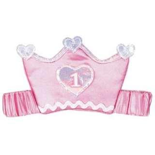 1st/Birthday girlspink satin headband Elastic Tiara Crown & Hearts