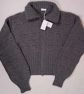 SWEATER $1890 GRAY 100%CASHMERE 12 PLY BLANKET KNIT BOMBER 8 44e NEW
