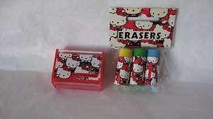 Sanrio Hello Kitty Eraser Set Pencil Sharpener Pattern Vintage 1976
