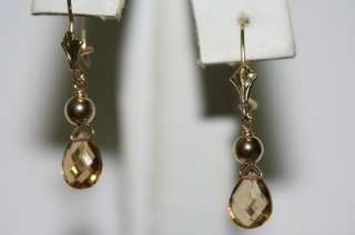 Rose Gold natural Brazilian Yellow Topaz earrings sparkly French Wire