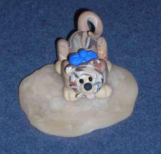 Handmade OOAK Polymer clay Cat Kitten in puddle of milk