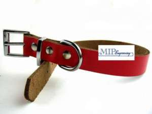 PERSONALIZED Genuine LEATHER Pet Dog Cat Collar RED xs