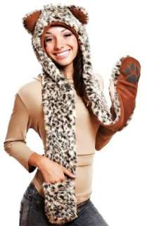 Celebrity Style Fashion faux fur LEOPARD Animal 3 in 1 Hoodie Scarf