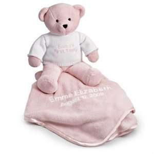 Personalized Pink Teddy Bear With Blanket Gift Baby