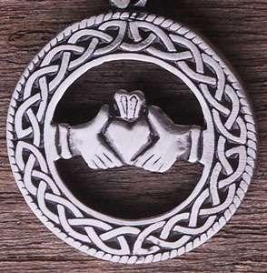 Celtic Claddagh Pewter Pendant W Black Rubber Necklace