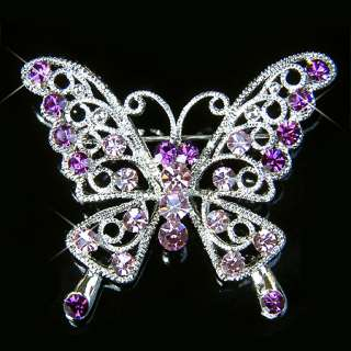 PURPLE w Swarovski Crystal BRIDAL ~BUTTERFLY Pin Brooch