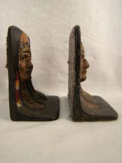 Old INDIAN CHIEF Figural CAST IRON Native American BOOKENDS
