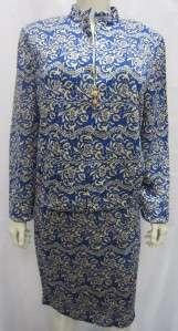 St. John Evening Sz 14 Somber Blue & Gold Skirt Suit Blue & Gold Lurex