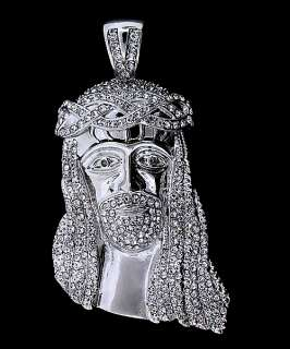 ICED OUT WHITE GOLD HIP HOP JESUS PIECE CHARM PENDANT