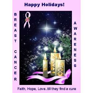 Breast Cancer Pink Ribbon Christmas Greeting Cards