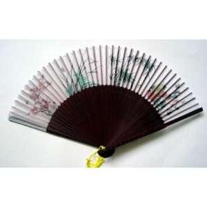 Chinese Art Hand Painting Silk Bamboo Fan Flower