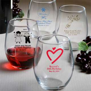 100 Personalized Stemless Wine Glasses Wedding / Bridal Shower Favors