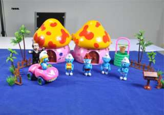 New Smurf Figures Happy Family Mushroom House Set TG0931