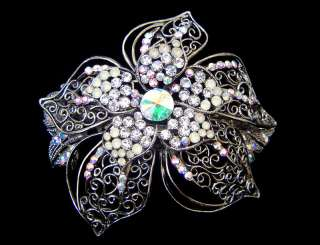 HUGE HAWAIIAN FLOWER HAIR BARRETTE CLIP CRYSTALS SLV/T