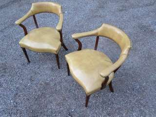 Pair of W & J Sloane Leather Club Chairs, Possibly Hickory Chair