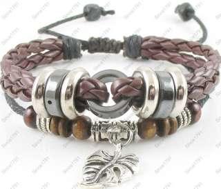 Adjustable Surfer Tribal Hemp Leather Bracelet Wristband Womens Mens