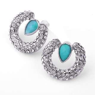 Korean Fashion Circle Cubic Zirconia Alloy Stud Earring