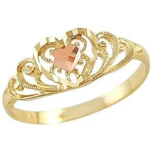 Size  4   14k Yellow and Rose Gold Heart Love Diamond Cut Ring