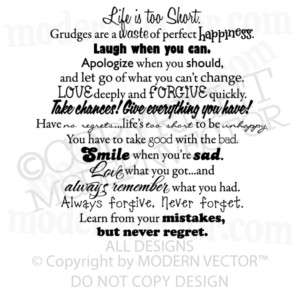 INSPIRATIONAL Vinyl Wall Quote Decal LIFE IS TOO SHORT