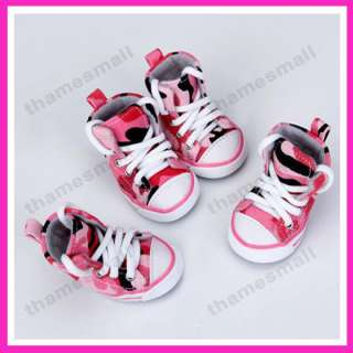 Pet Dog Canvas Sport Shoes Boots Sneakers Pink Camo #3