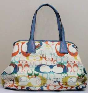 Orange Yellow Blue & White Print Spring Coach Purse Handbag Excellent