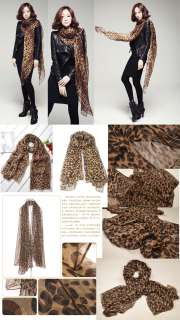 SC5 WOMEN CHIFFON SCARF WILD LEOPARD PRINT BROWN 2 meters long and 1