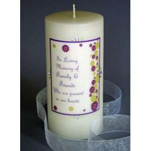 Modern Purple Flower Swarovski Crystal Memorial Candle
