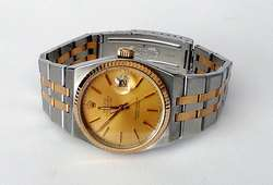 ROLEX OYSTERQUARTZ DATEJUST MENS WATCH TWO TONE GOLD STAINLESS STEEL