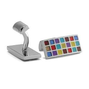 Shape Silver Tone Polished Multi Color Colorful Checkers Pattern
