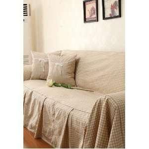 Grid Cotton&Linen Sofa Cover SC 32,three seats sofa
