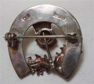 Vintage Sterling Silver Scottish Thistle Brooch Pin Horseshoe Ward