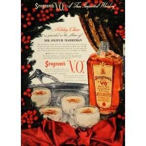 1937 Ad Seagrams V.O. Canadian Whiskey Holiday Eggnog   Original Print