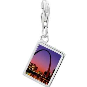 Pugster 925 Sterling Silver Night Scene Photo Rectangle