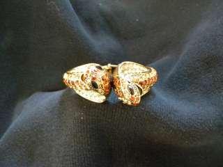 /CUFF Cobra/Snake gold metal & faux BROWN crystals RHINESTONES