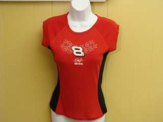 Womens Dale Earnhardt Jr Number 8 Red & Black Cotton Tee Size Medium