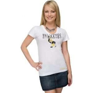 Iowa Hawkeyes Womens White Clipper V neck T Shirt Sports