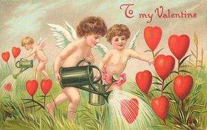 Valentines Day Fabric Block Vintage Postcard on Fabric Cupids