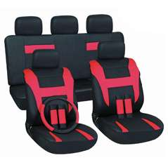 New CAR SEAT Cover SET Semi Custom RED AND BLACK 2 ROWS
