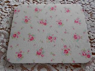 Shabby Cottage Chic Flower Sugar fabric mouse pad tiny pink roses