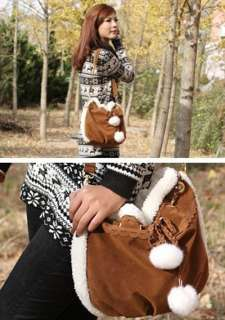 New Korean Style Women Handbag Girls Shoulder Bag Lovely Fur Ball