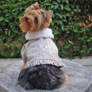 Dog Apparel   Acacia PomPom Coat   Color Beige, Size M