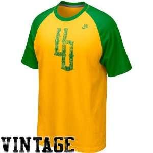 Nike Oregon Ducks Yellow Green Vault Raglan Premium Tri Blend T shirt