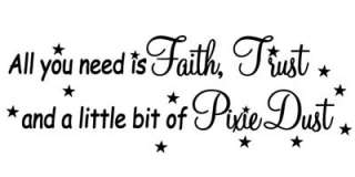 Tinkerbell Faith Trust Pixie Dust Wall Quote Home Decor Peel & Stick