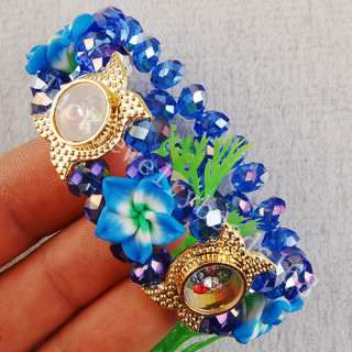 AB Dark Blue Crystal Flower Lucky Bracelet FG3580