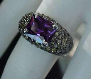 EMERALD cut Signity Purple & Canary cz Black Rhodium DOMED Ring Sz7