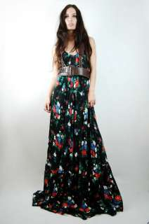 Vtg 70s Black FLORAL Draped GODDESS Gypsy Hippie MAXI Dress S/M