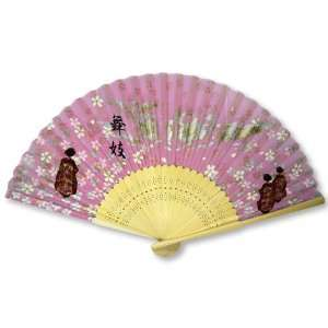 Blossom Painted Bamboo Wood Oriental Silk Folding Fan