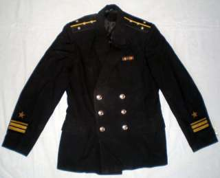 Vintage Russian Soviet Navy Officer Uniform Naval Black Jacket