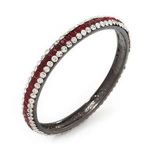 Ruby Red/Clear Crystal Bangle Bracelet In Gun Metal Finish