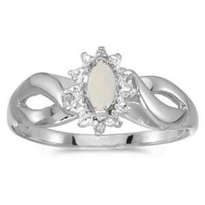 14k White Gold October Birthstone Marquise Opal And